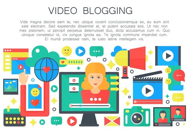 Conceito plana de vídeo blogueiro feminino Vetor Premium