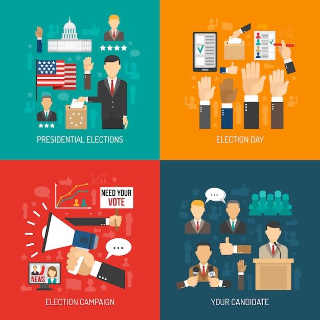 Conceito plano da política e da eleição Vetor grátis