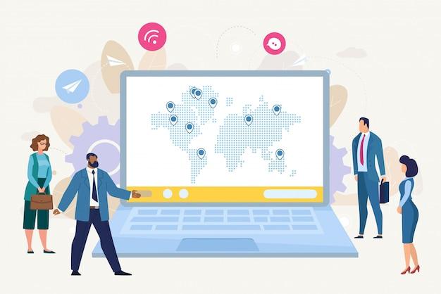 Conceito plano de crescimento de negócios internacionais Vetor Premium