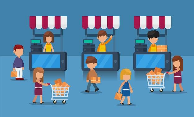 Conceito plano de e-commerce móvel com o cliente, o conceito de mercado digital Vetor Premium