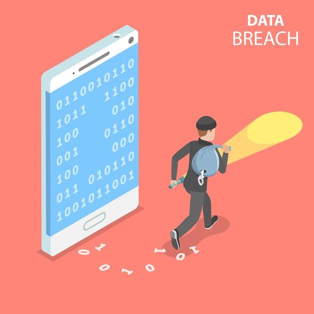 Conceito plano isométrico de violação de dados, roubo de dados confidenciais, ataque cibernético. Vetor Premium