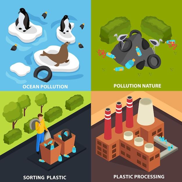 Conceito plástico drástico com composições de imagens representando instalações industriais de poluição e tratamento de resíduos acima do solo Vetor grátis