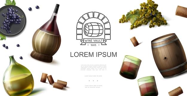 Conceito realista da indústria vinícola com garrafas originais de copos de vinho tinto e branco rolhas de barril de madeira cachos de ilustração de uva Vetor grátis