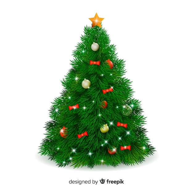 Conceito realista de árvore de natal Vetor grátis