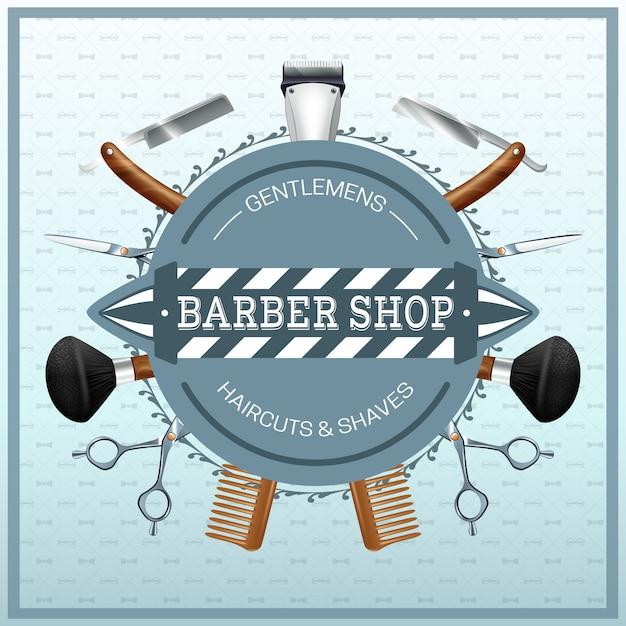 Conceito realista de barbearia Vetor grátis