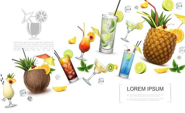 Conceito realista de bebidas alcoólicas com pina colada cuba libre lagoa azul tequila ao nascer do sol martini margarita coquetéis de mojito e fatias de frutas Vetor grátis