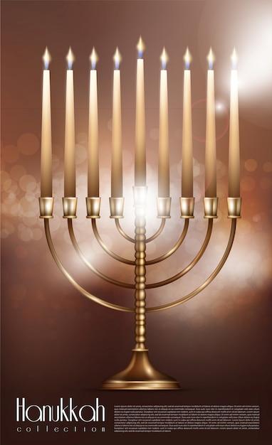 Conceito realista de feliz hanukkah Vetor grátis
