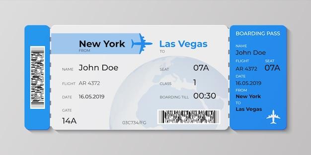 Conceito realista de ilustração de bilhetes para viagens de negócios de companhias aéreas de partidas Vetor Premium
