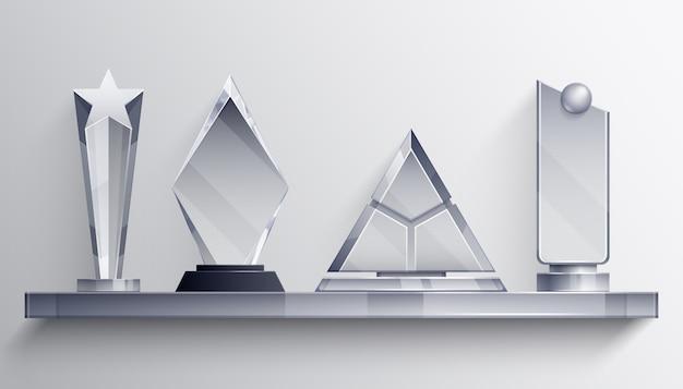Conceito realista de prateleira de troféus com símbolos de vencedor Vetor grátis