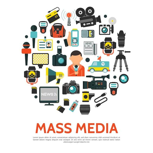 Conceito redondo de mídia de massa plana com câmeras de vídeo de fotos de carros de notícias da torre de rádio do repórter Vetor grátis
