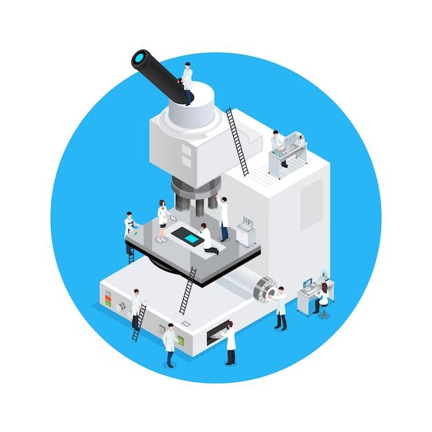 Conceito redondo dos cientistas do microscópio Vetor grátis