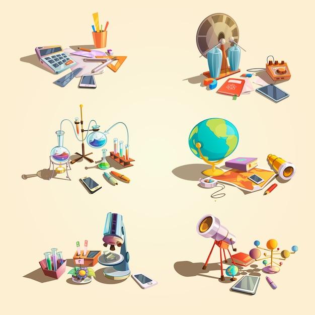 Conceito retrô de ciência conjunto com objetos de educação dos desenhos animados Vetor grátis