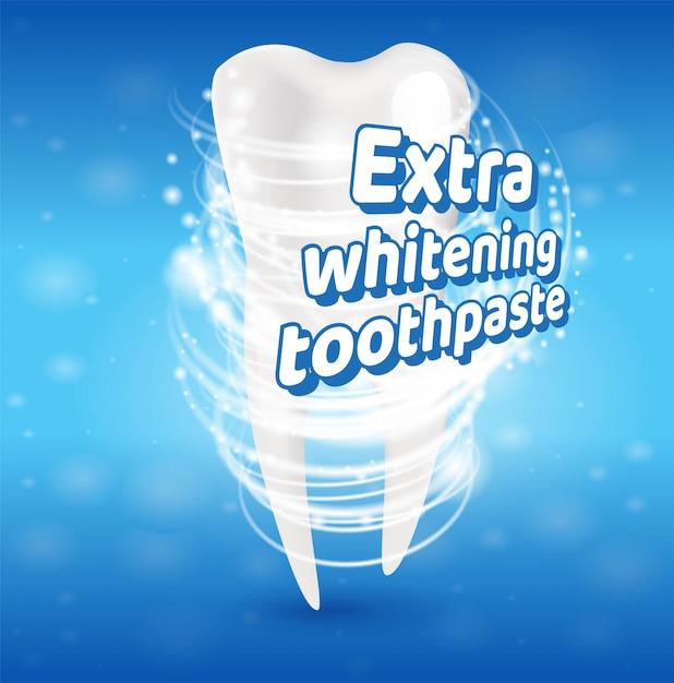 Conceito saudável extra dos dentes do dentífrico do alvejante Vetor Premium