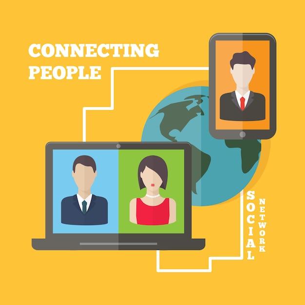 Conceito social da conexão de rede dos media com avatars do usuário ao redor do mundo. vector design plano. Vetor Premium