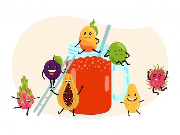 Conceito tropical do fruto do suco do verão fresco no branco, ilustração. lichia e ameixa asiáticas do fruto do dragão da melancia da papaia. Vetor Premium
