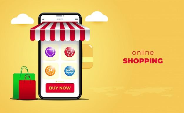 Conceitos de aplicativos móveis de sites de compras on-line. marketing digital com smartphone Vetor Premium