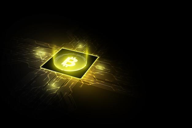 Conceitos de bitcoin com circuitos impressos com processadores bitcoin e microchip Vetor Premium