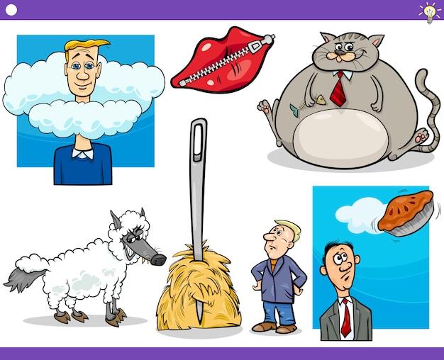Conceitos de desenhos animados e provérbios Vetor Premium