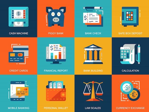 Conceitos de ícones plana bancário e finanças conceituais Vetor Premium