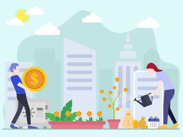 Conceitos de ilustração vetorial de investimento com personagens Vetor Premium