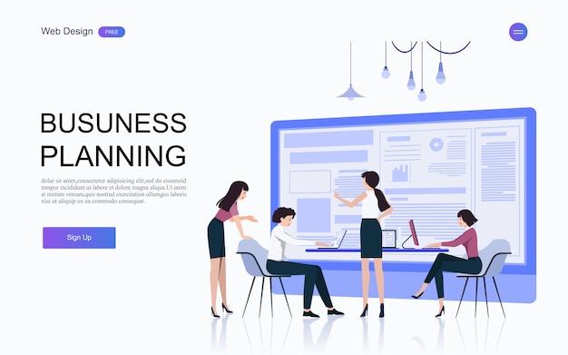 Conceitos de negócios para análise e planejamento, consultoria de trabalho em equipe, gerenciamento de projetos, relatórios financeiros e estratégia. . Vetor Premium