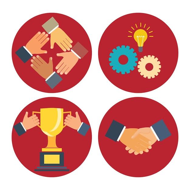 Conceitos de parceria e cooperação ilustração vetorial de negócios em moderno estilo simples Vetor grátis