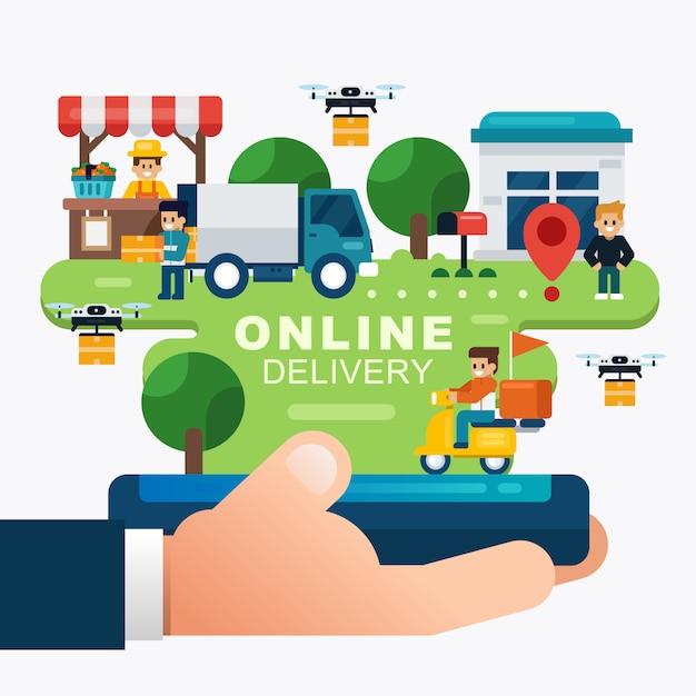 Conceitos de serviços de entrega on-line, rastreamento de pedidos on-line com a mão segurando móvel. ordem de compras online Vetor Premium