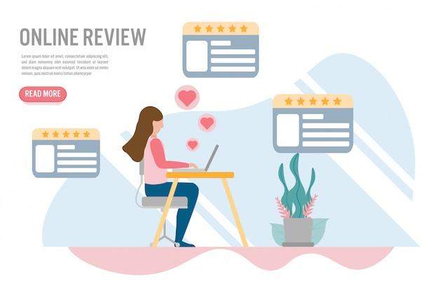 Conceitos on-line de revisão do cliente com caráter. Vetor Premium