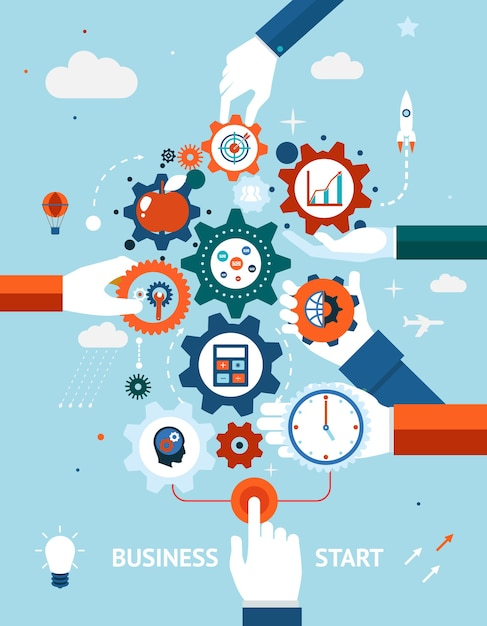 Conceitual de um negócio e empreendedorismo iniciar ou lançar com engrenagens e rodas dentadas com vários ícones Vetor grátis