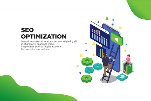Conceitual web seo ilustração Vetor Premium