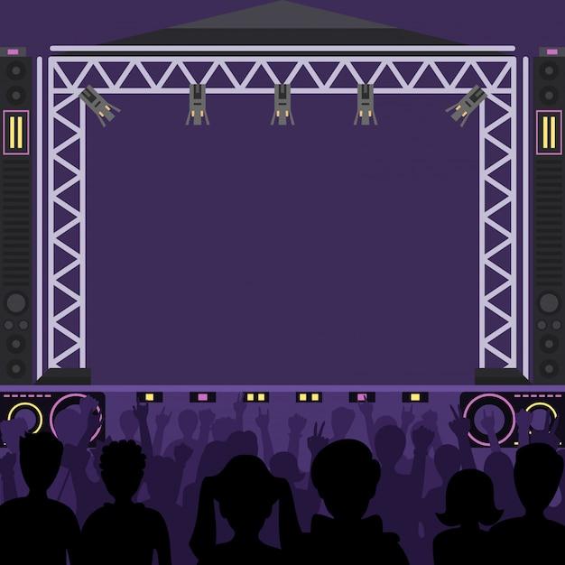 Concerto palco cena música palco e noite concerto festa. grupo de jovens pop diversão zona pessoas silhueta multidão de concertos na frente de luzes brilhantes de palco de música. cena de banda de grupo de artistas pop Vetor Premium
