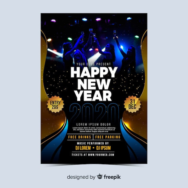 Concerto para o ano novo 2020 modelo de panfleto ou cartaz Vetor grátis