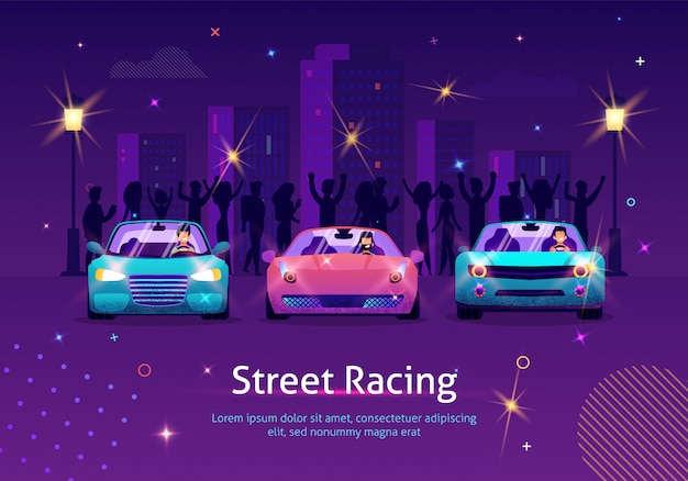 Concorrência entre sport vehicles at night. Vetor Premium