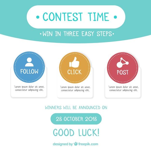 Concurso de mídia social ou fundo do conceito de oferta Vetor grátis