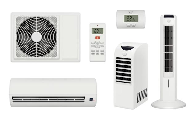 Condicionador. quarto confortável e relaxante com purificador de ar condicionado e condicionador realista. conjunto condicionador de ilustração Vetor Premium