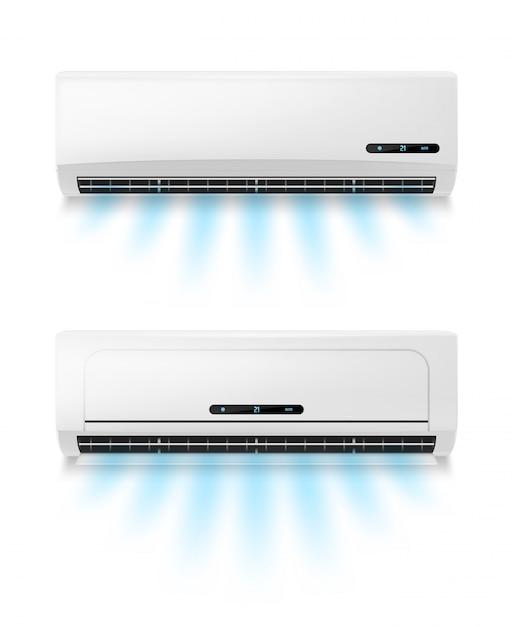 Condicionadores, equipamento de ar condicionado realista Vetor Premium