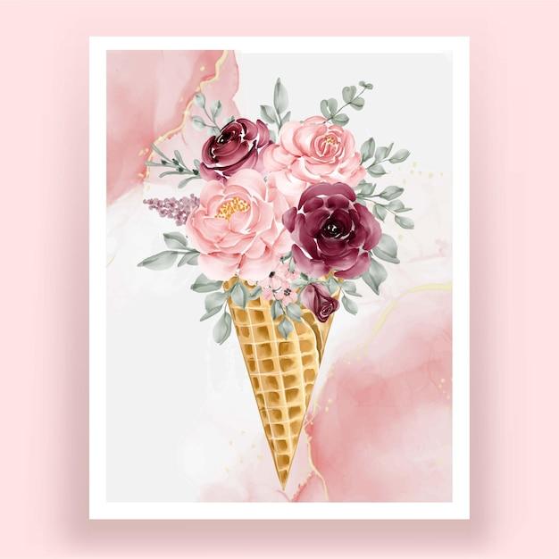 Cone de gelo com flor em aquarela rosa rosa borgonha Vetor Premium