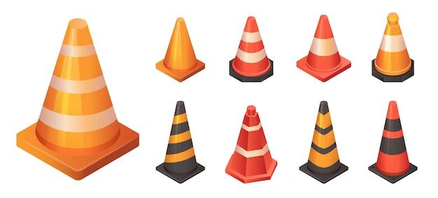 Cone traffic icon set, estilo isométrico Vetor Premium
