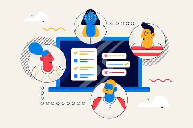 Conectando equipes conceito para landing page Vetor grátis