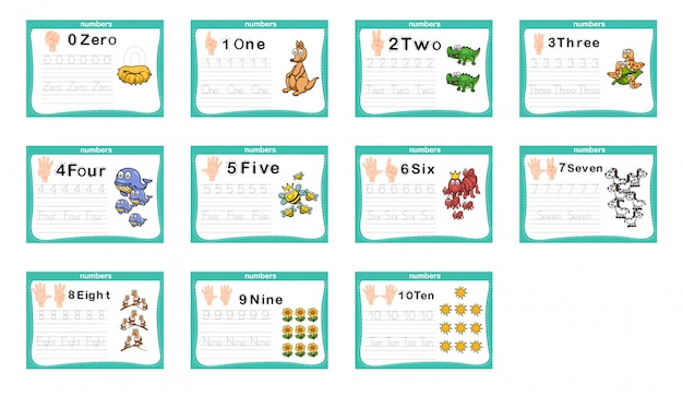 Conectando exercício de números e números imprimíveis para pré-escola e jardim de infância Vetor Premium