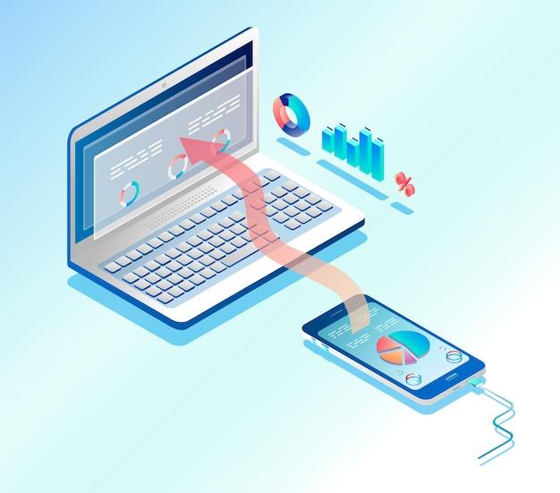 Conectando infográfico de telefone e laptop. ilustração isométrica. Vetor Premium