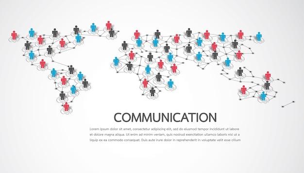 Conectando pessoas com o ponto do mapa mundial Vetor Premium