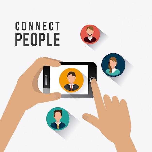 Conecte o design das pessoas. Vetor Premium