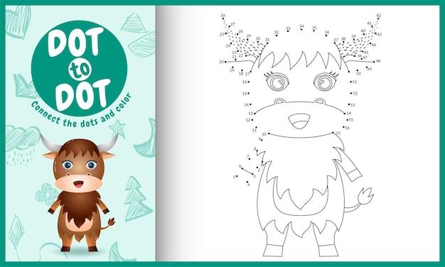 Conecte o jogo de pontos para crianças e a página para colorir com um búfalo fofo Vetor Premium