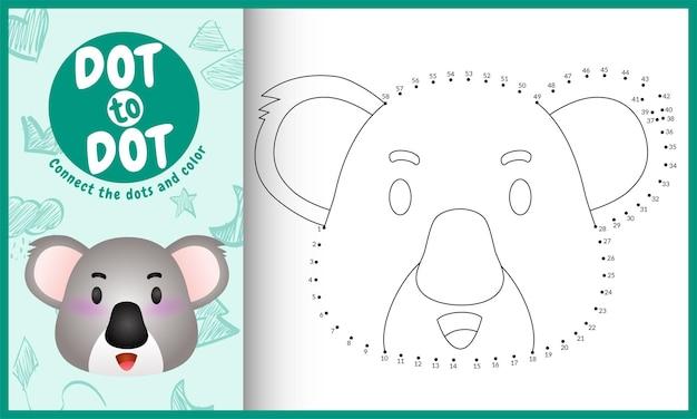 Conecte o jogo de pontos para crianças e a página para colorir com um lindo coala de rosto Vetor Premium