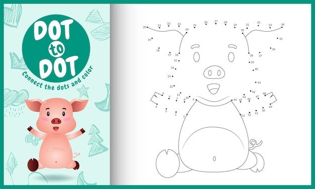 Conecte o jogo de pontos para crianças e a página para colorir com um porco fofo Vetor Premium