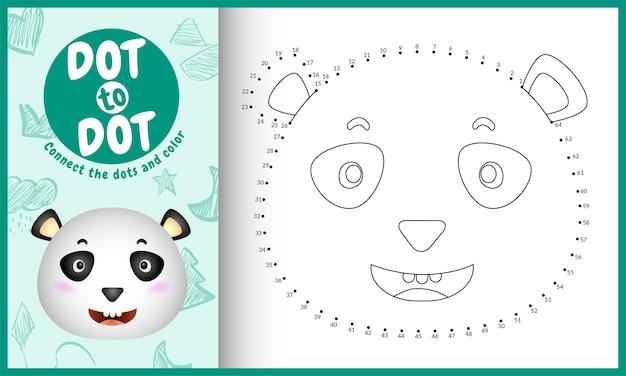 Conecte o jogo de pontos para crianças e página para colorir com um panda bonito Vetor Premium
