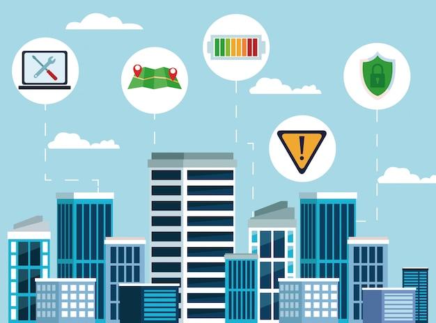 Conectividade com a internet da cidade Vetor grátis