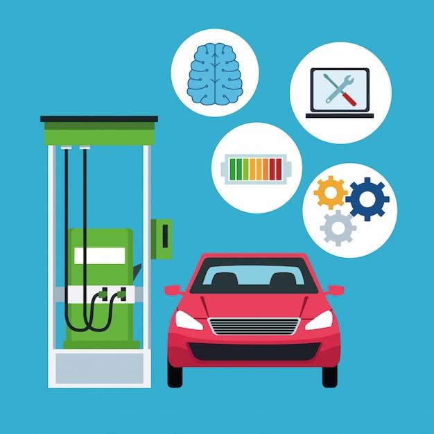 Conectividade de internet de carro em posto de gasolina Vetor grátis