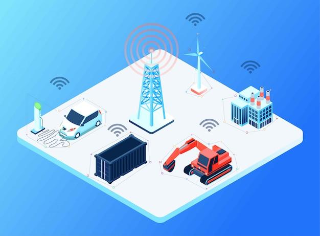 Conectividade entre a torre de celular para diferentes dispositivos, ilustração isométrica Vetor Premium